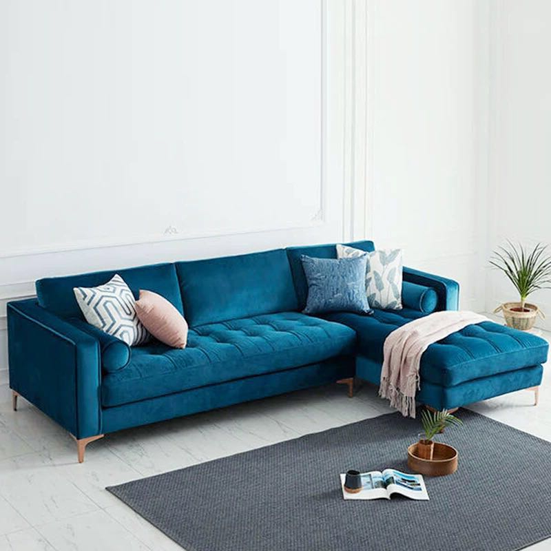 Most Up To Date Levi Blue Velvet Corner Sectional Sofa – 120 Inches Left With Regard To Strummer Velvet Sectional Sofas (View 8 of 25)