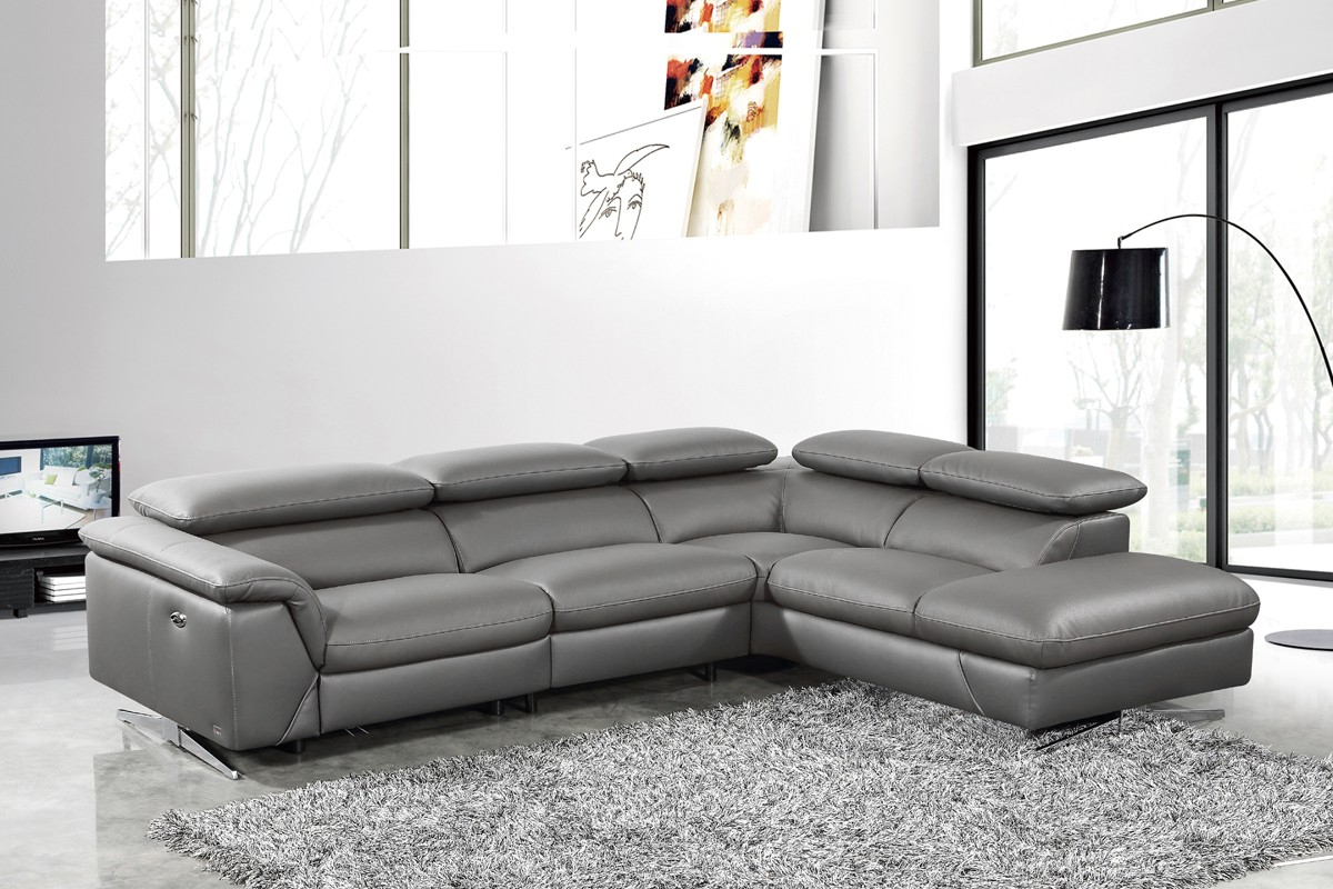 Most Up To Date Ludovic Contemporary Sofas Light Gray Intended For Divani Casa Maine – Modern Dark Grey Eco Leather Left (View 3 of 25)
