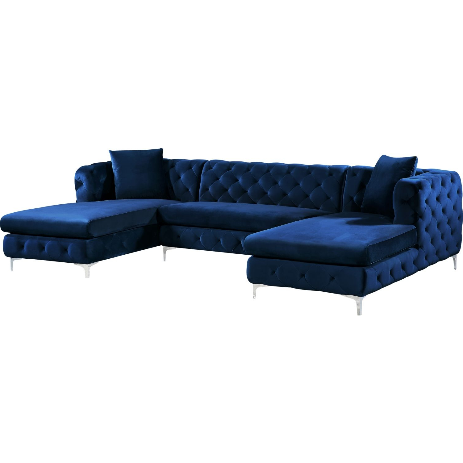Most Up To Date Meridian Furniture 664Navy Sectional Gail 3 Piece Double Throughout 3Pc Miles Leather Sectional Sofas With Chaise (View 19 of 25)