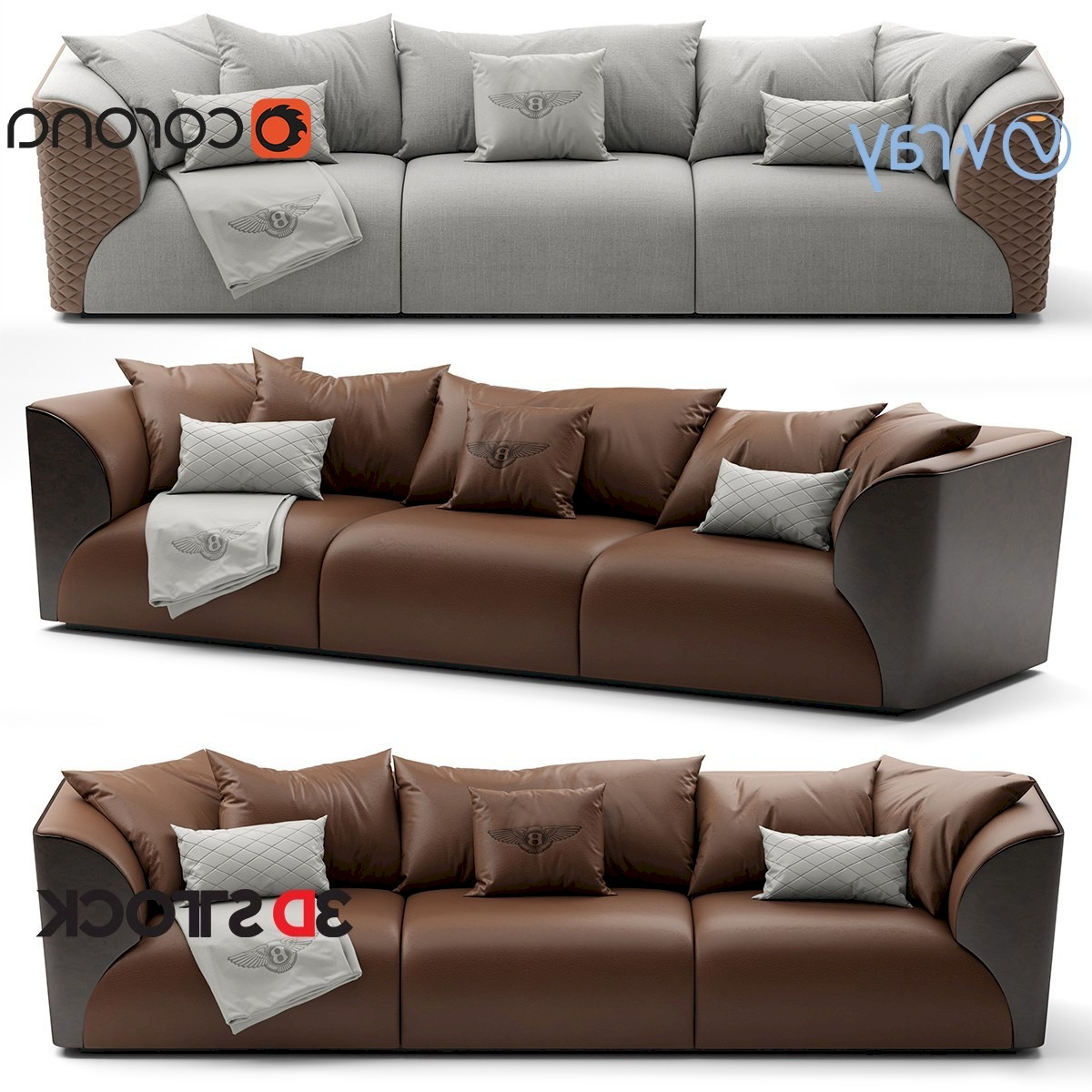 Most Up To Date Winston Sofa Sectional Sofas With Regard To Bentley Home Winston Sofa – 3D Stock : 3D Models For (View 15 of 25)