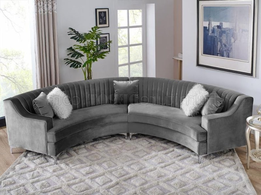 Ms2071 Sectional Sofa In Grey Velvetvimports Within Most Recent Noa Sectional Sofas With Ottoman Gray (View 15 of 25)