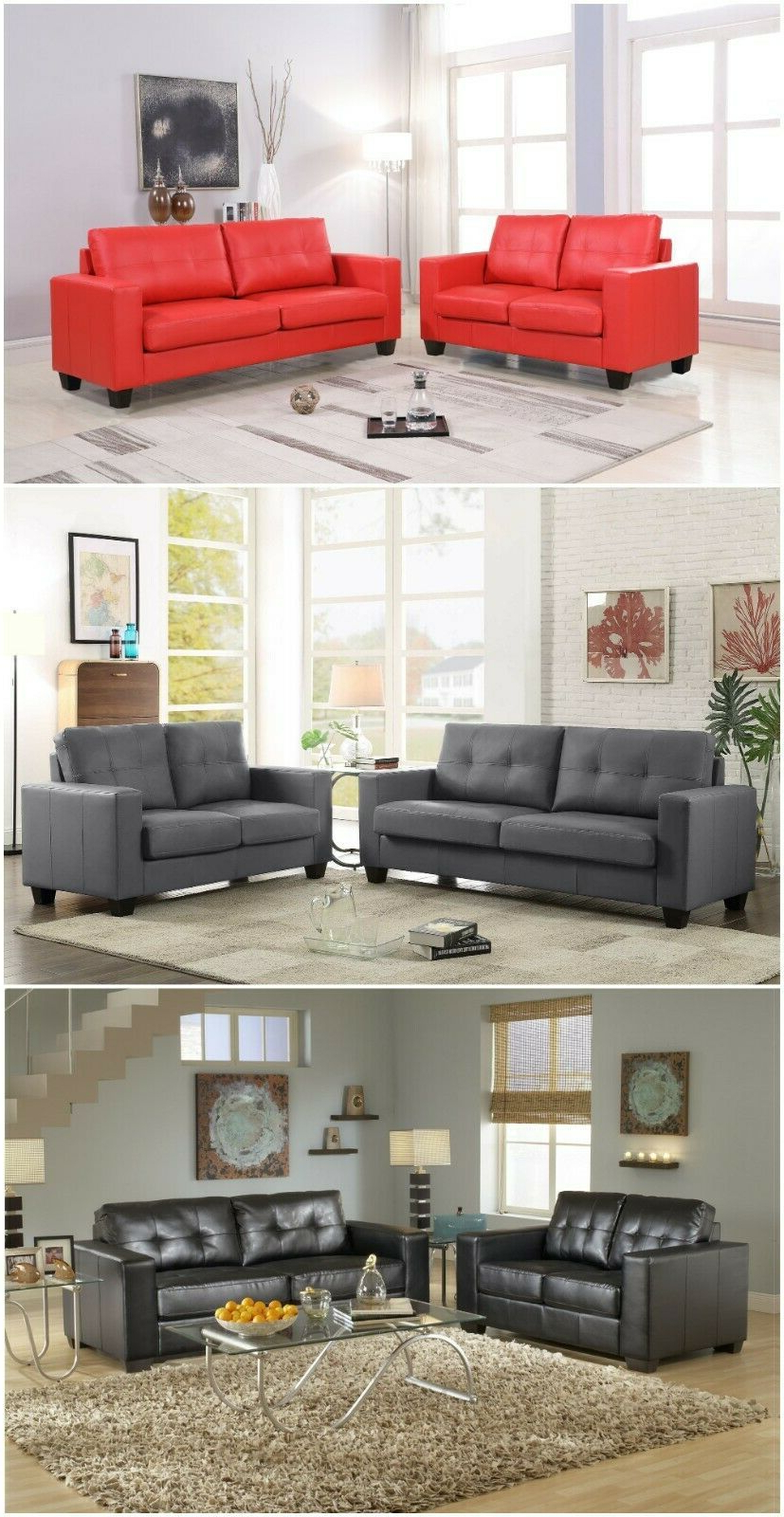 Navigator Manual Reclining Sofas Within Popular Pu Leather Living Room Sets – Dlivingrooms (View 13 of 15)