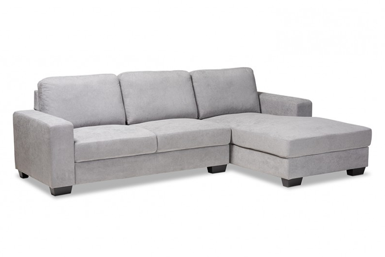 Nevin Modern And Contemporary Light Grey Fabric With Regard To 2017 2Pc Crowningshield Contemporary Chaise Sofas Light Gray (View 9 of 25)