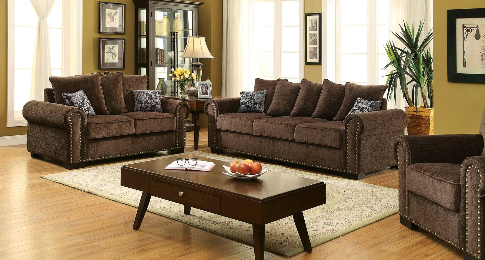 Newest 2Pc Polyfiber Sectional Sofas With Nailhead Trims Gray Pertaining To Rydel Transitional Sofa Upholstered In Brown Chenille (View 25 of 25)