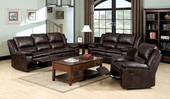 Newest 3Pc Bonded Leather Upholstered Wooden Sectional Sofas Brown Intended For 3 Pc (View 9 of 25)