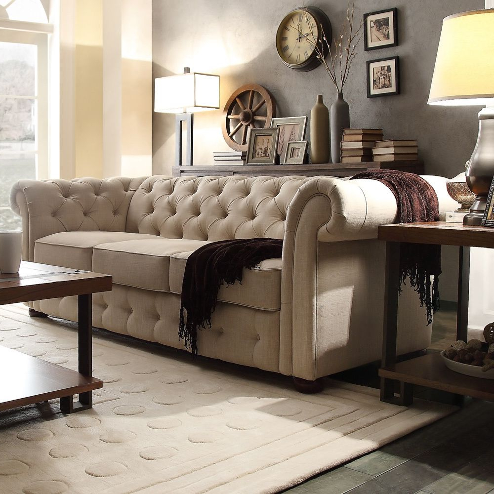 Newest Artisan Beige Sofas With Knightsbridge Beige Fabric Button Tufted Chesterfield Sofa (View 10 of 15)