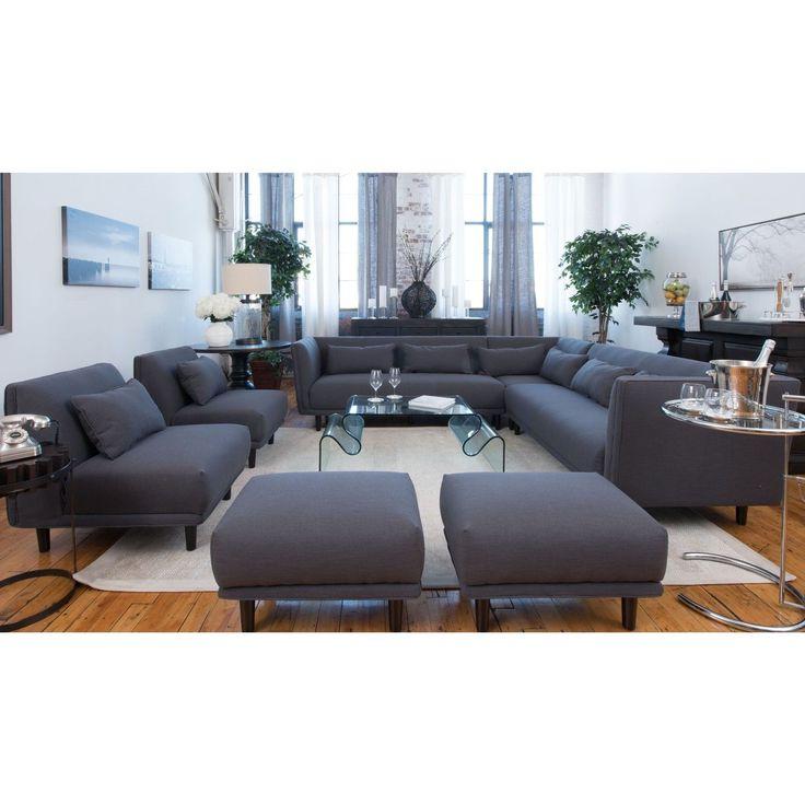Newest Calvin Concrete Gray Sofas Inside Manhattan Concrete Grey Fabric 5 Piece Living Room (View 11 of 15)