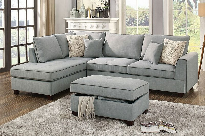 Newest Copenhagen Reversible Small Space Sectional Sofas With Storage With Regard To Poundex F6543 3 Pc Cleveland Light Grey Woven Fabric (View 1 of 25)