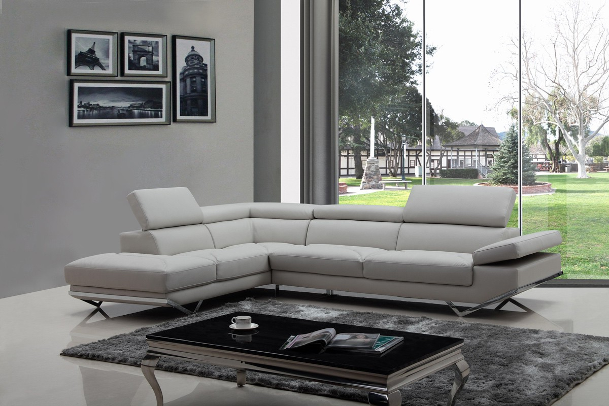 Newest Divani Casa Quebec Modern Light Grey Eco Leather Sectional Regarding 2Pc Crowningshield Contemporary Chaise Sofas Light Gray (View 16 of 25)