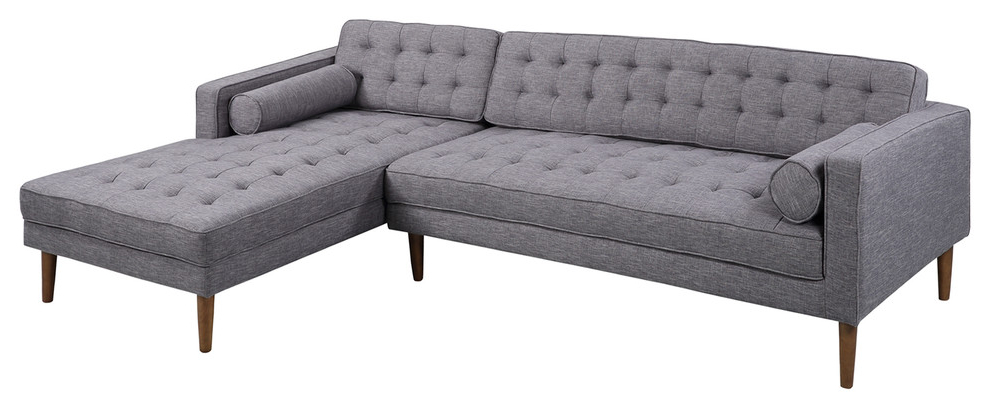 Newest Element Right Side Chaise Sectional Sofas In Dark Gray Linen And Walnut Legs In Armen Living Element Chaise Sectional, Dark Gray Linen And (View 6 of 25)