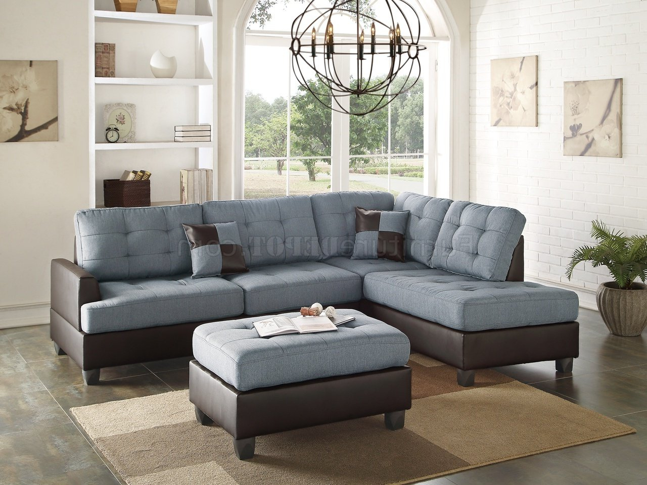 Newest Gray Sofas With F6858 Sectional Sofa 3Pc In Grey Fabricboss (View 6 of 15)