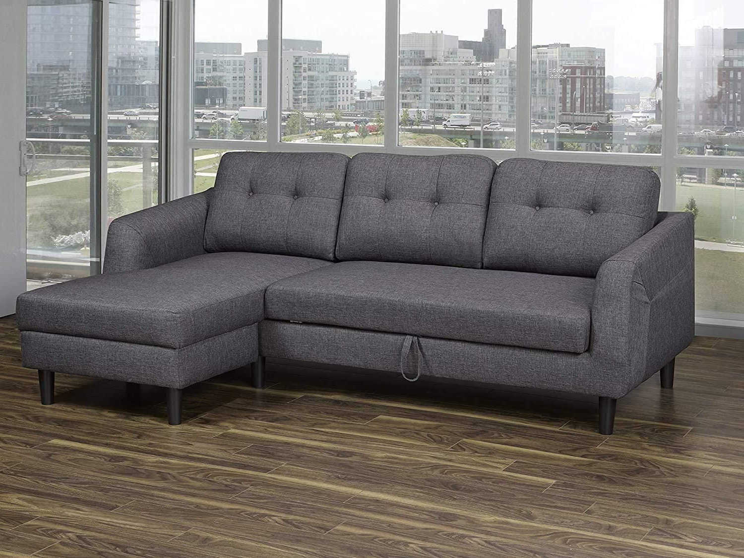Newest K Living Katie Linen Fabric Sofa Bed Sectional In Dark With Polyfiber Linen Fabric Sectional Sofas Dark Gray (View 3 of 25)
