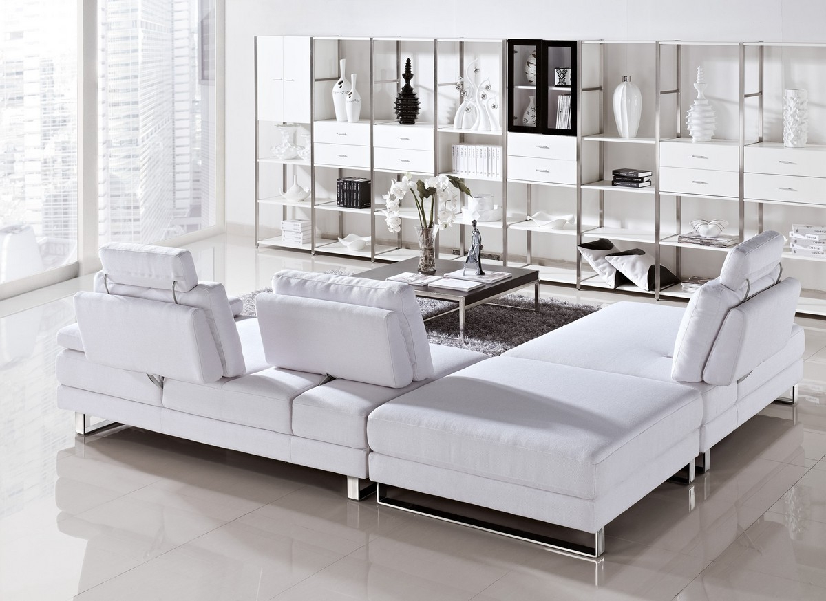 Newest Mireille Modern And Contemporary Fabric Upholstered Sectional Sofas Throughout Vega – Modern Fabric Sectional Sofa Set With Pull Back (View 24 of 25)