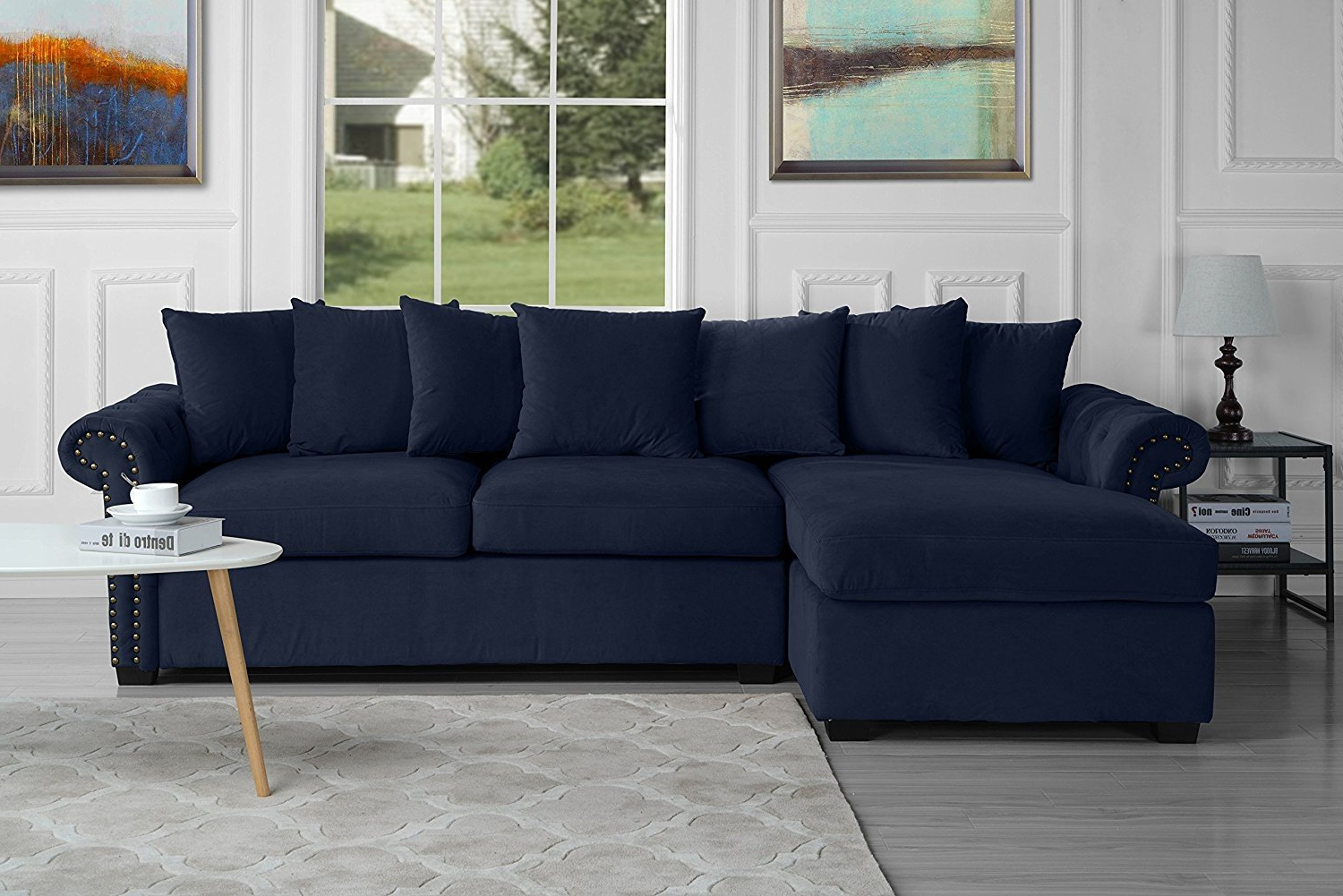 Newest Modern Large Tufted Velvet Sectional Sofa, Scroll Arm L Throughout Dream Navy 2 Piece Modular Sofas (View 8 of 15)