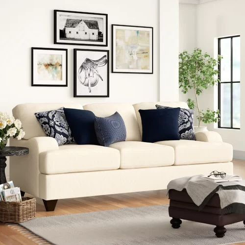 Newest Sandpoint 90'' Chenille Recessed Arm Sleeper With In Hugo Chenille Upholstered Storage Sectional Futon Sofas (View 18 of 25)