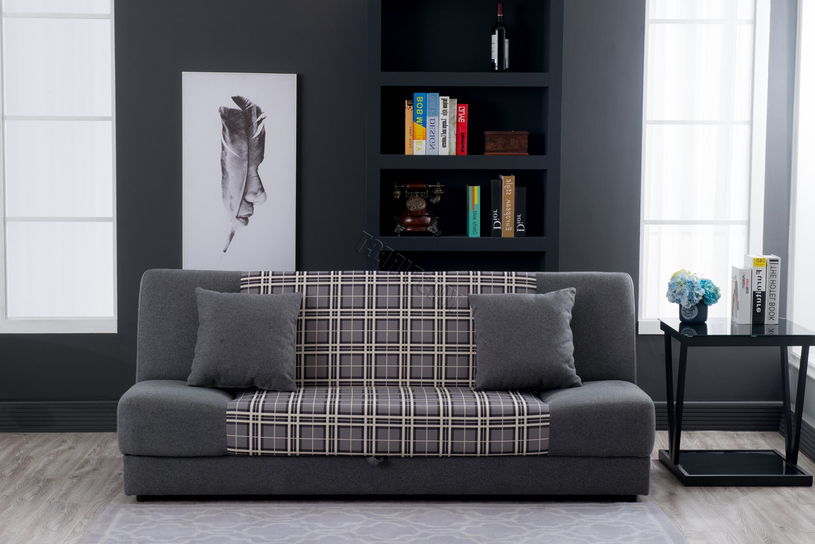 Newest Westwood 3 Seater Click Clack Fabric Sofa Bed Recliner Pertaining To Celine Sectional Futon Sofas With Storage Reclining Couch (View 21 of 25)