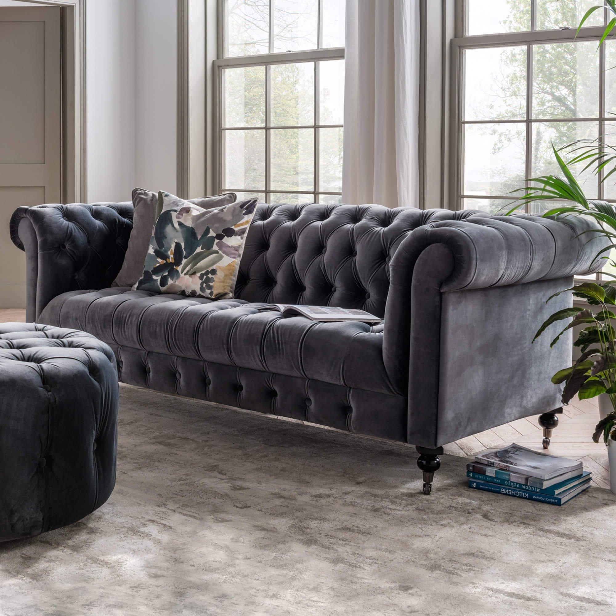 Newest Windsor Grey Velvet 3 Seater Sofa For Gray Sofas (View 1 of 15)