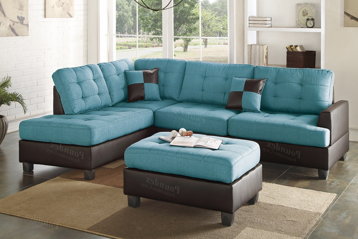 Noa Sectional Sofas With Ottoman Gray Throughout Current Blue Leather Sectional Sofa And Ottoman – Steal A Sofa (View 2 of 25)