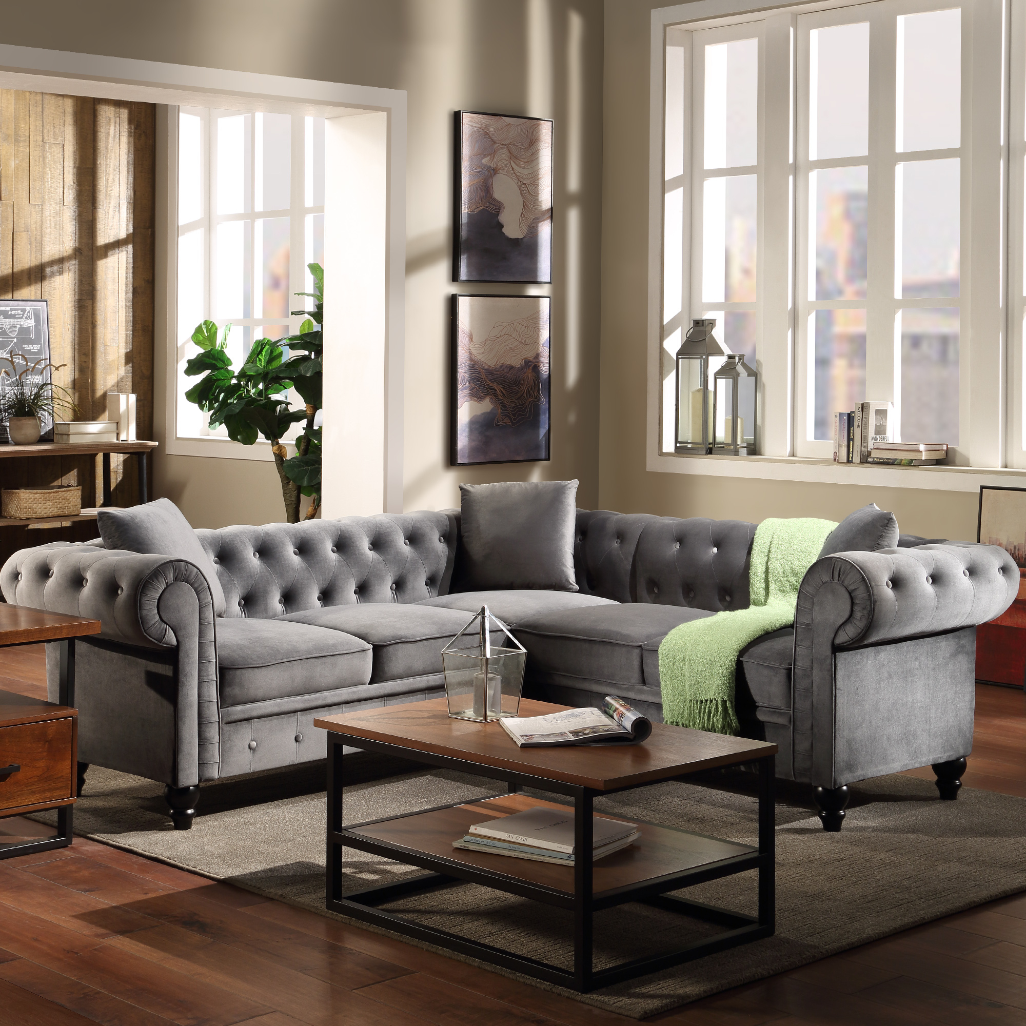 Noa Sectional Sofas With Ottoman Gray Throughout Favorite Chesterfield Sofa For Living Room, Mid Century L Shape (View 5 of 25)