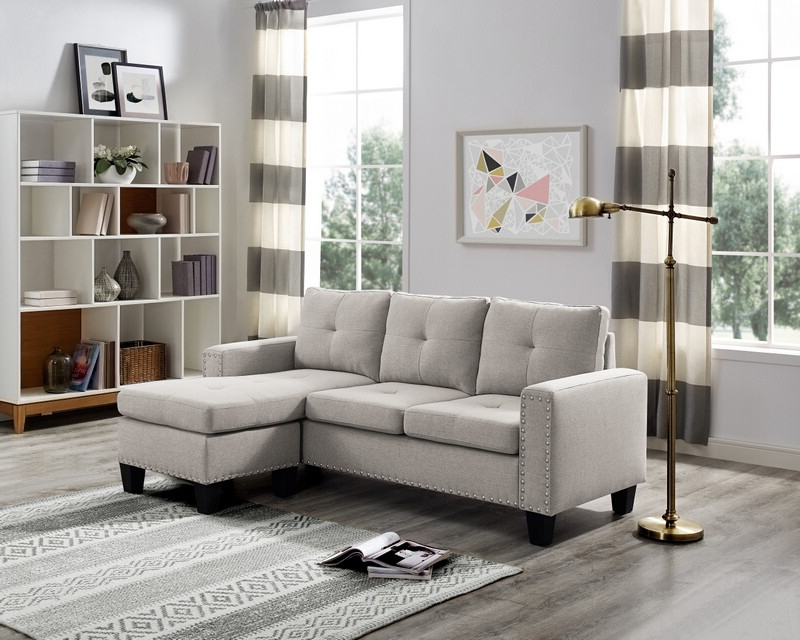 Oah D6102 2 Pc Blair Light Gray Linen Like Fabric Nail In Well Known 2Pc Polyfiber Sectional Sofas With Nailhead Trims Gray (View 17 of 25)