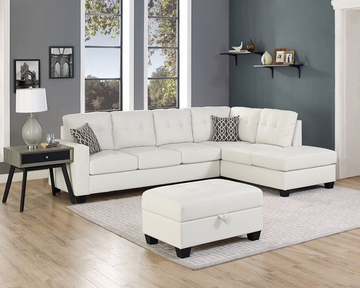 Oah D6210 3 Pc Red Barrel Studio Qdees White Faux Leather Intended For Most Popular 3Pc Miles Leather Sectional Sofas With Chaise (View 17 of 25)