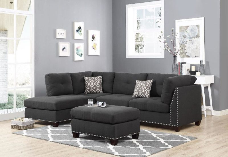 Oah D6606 3 Pc Martinique Dark Gray Linen Like Fabric Nail Throughout Most Recently Released Radcliff Nailhead Trim Sectional Sofas Gray (View 20 of 25)
