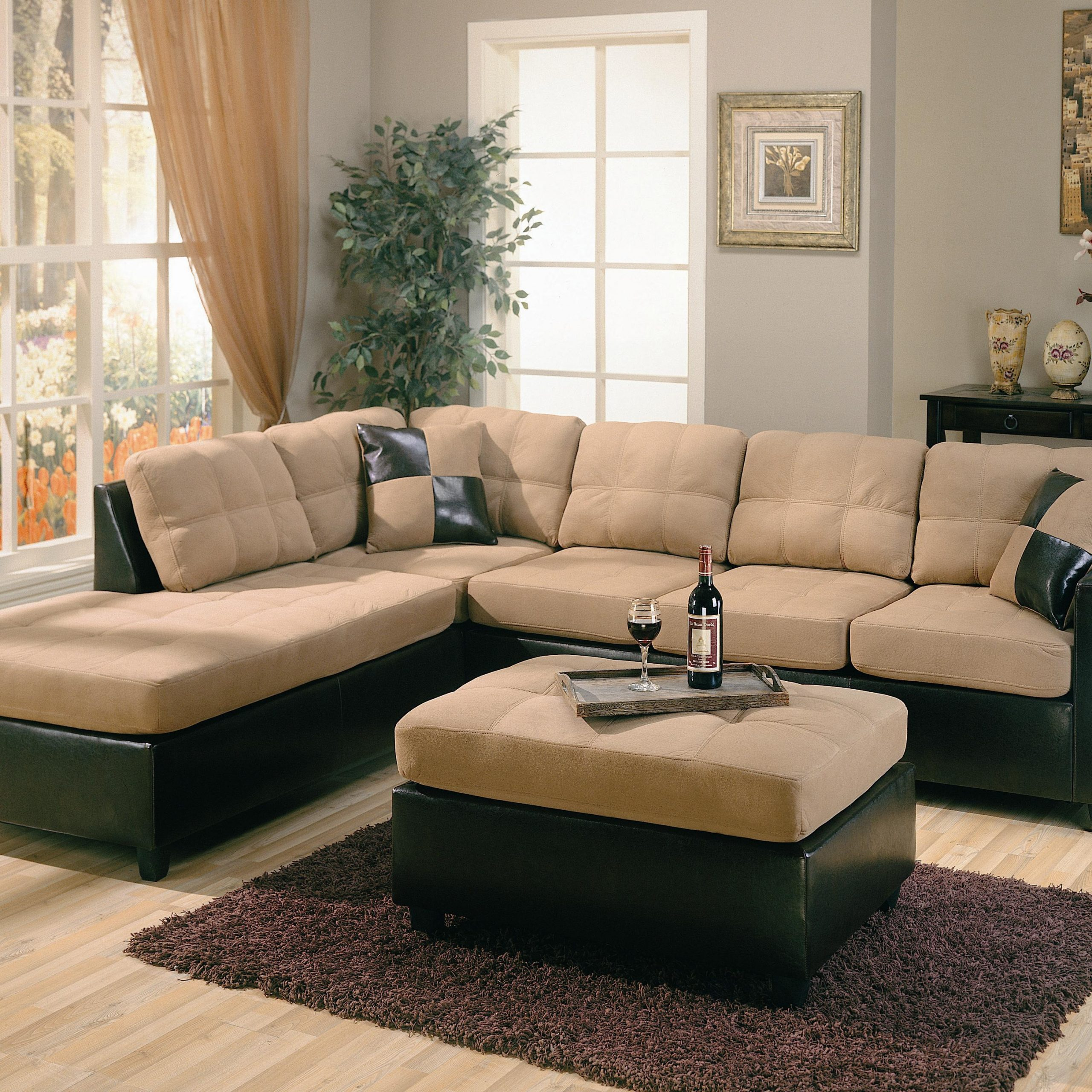 Page Title With Latest Bonded Leather All In One Sectional Sofas With Ottoman And 2 Pillows Brown (View 8 of 25)