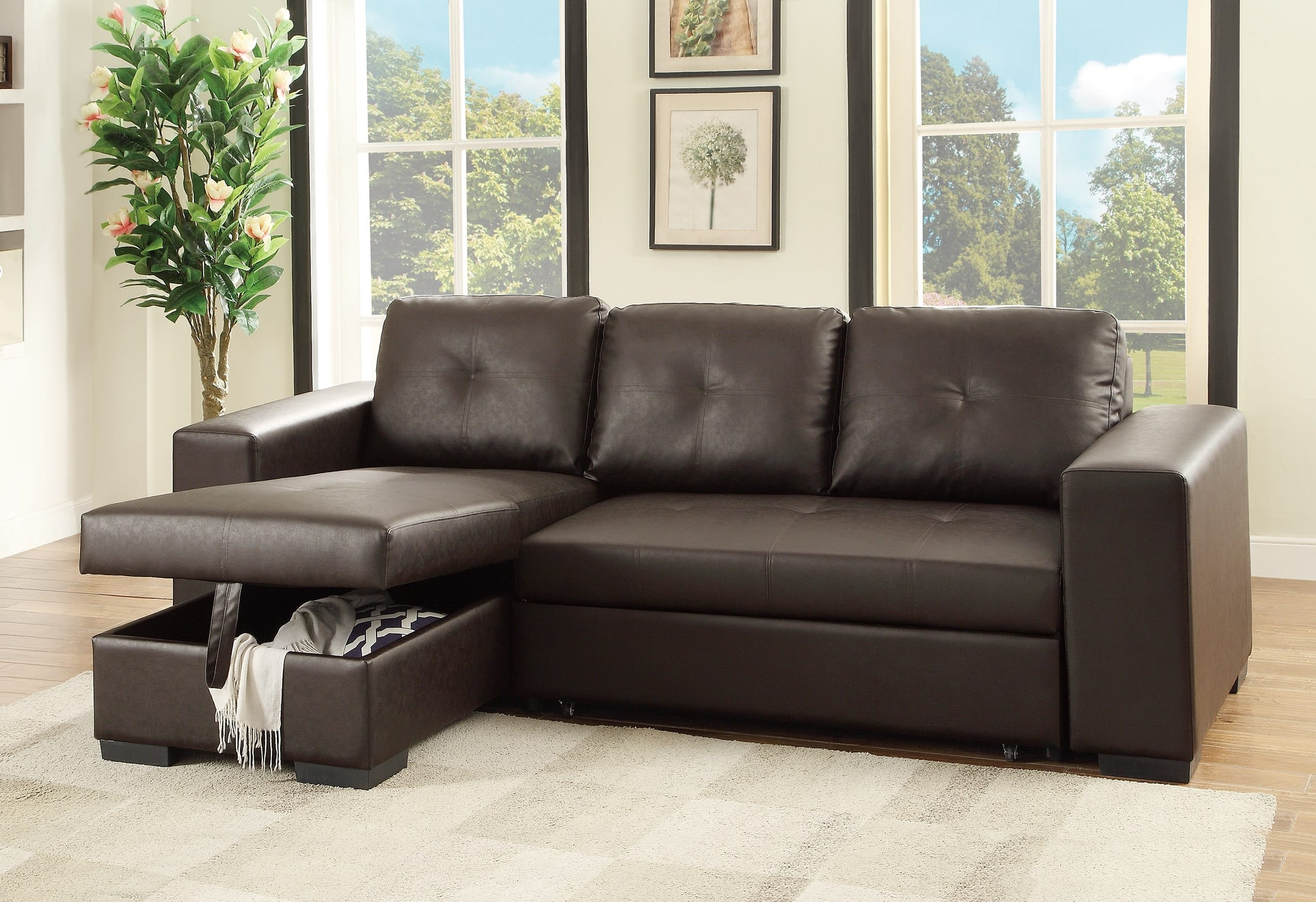 Palisades Reversible Small Space Sectional Sofas With Storage With Recent Flash Espresso Faux Leather Convertible Sectional Pull Out (View 25 of 25)