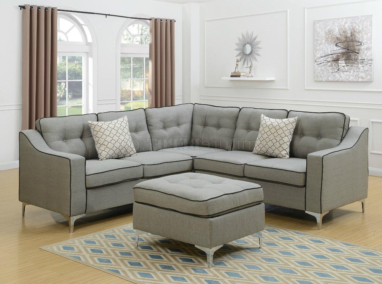 Polyfiber Linen Fabric Sectional Sofas Dark Gray Inside 2017 F6998 Sectional Sofa In Light Gray Fabric W/ Ottomanboss (View 8 of 25)