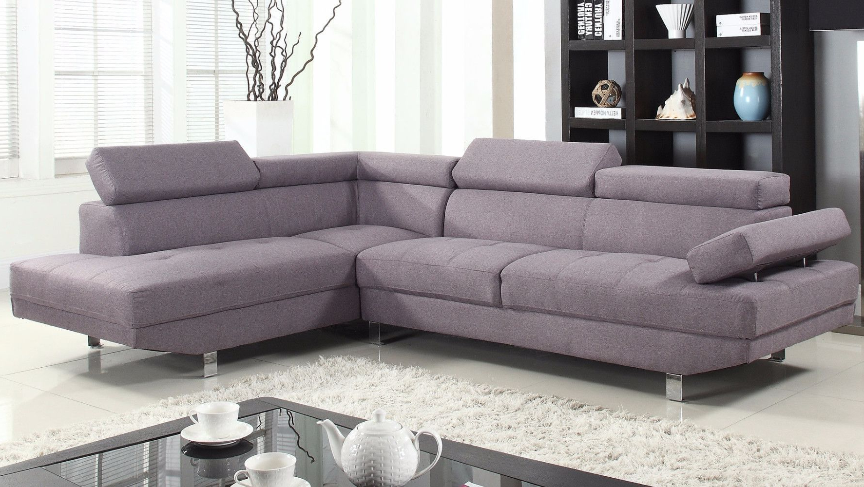 Polyfiber Linen Fabric Sectional Sofas Dark Gray Inside Famous 2 Piece Modern Linen Fabric Right Facing Chaise Sectional (View 6 of 25)