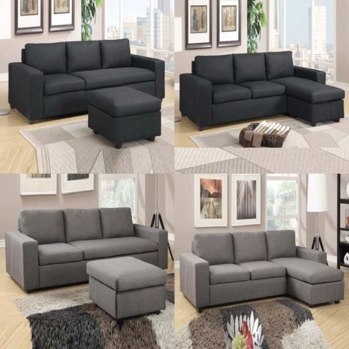 Polyfiber Linen Fabric Sectional Sofas Dark Gray Inside Well Known 2 Pc Modular Black Gray Linen Textured Fabric Reversible (View 22 of 25)