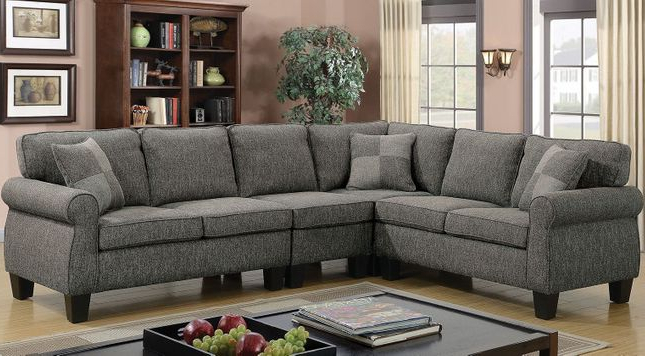 Polyfiber Linen Fabric Sectional Sofas Dark Gray Intended For Best And Newest Rhian Transitional Sectional Sofa W/ Pillows In Dark Gray (View 17 of 25)