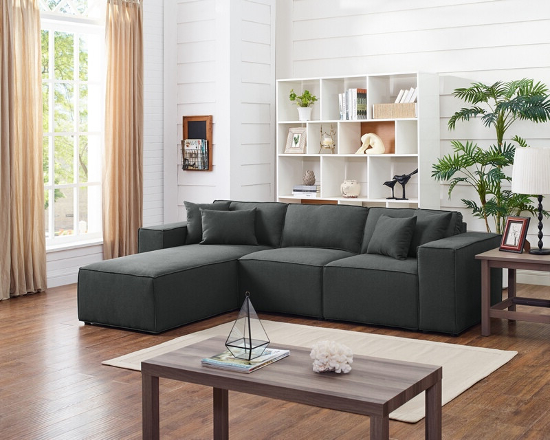 Polyfiber Linen Fabric Sectional Sofas Dark Gray Intended For Widely Used Oah D6195 3 Pc Dalton Dark Gray Linen Like Fabric Modular (View 15 of 25)