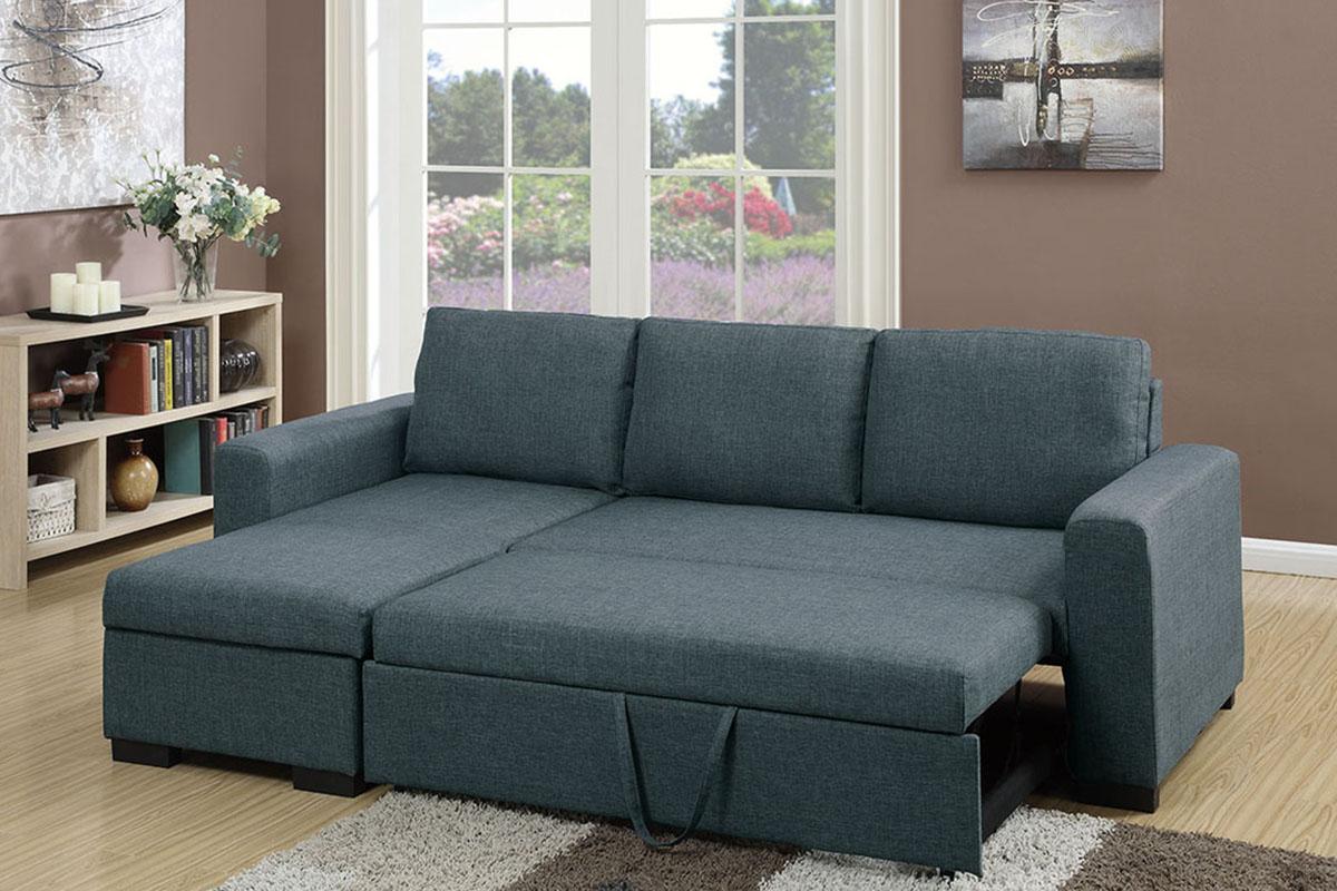 Polyfiber Linen Fabric Sectional Sofas Dark Gray Regarding Latest Blue Grey Linen Like Fabric Right Facing Sectional Sofa Adju (View 7 of 25)