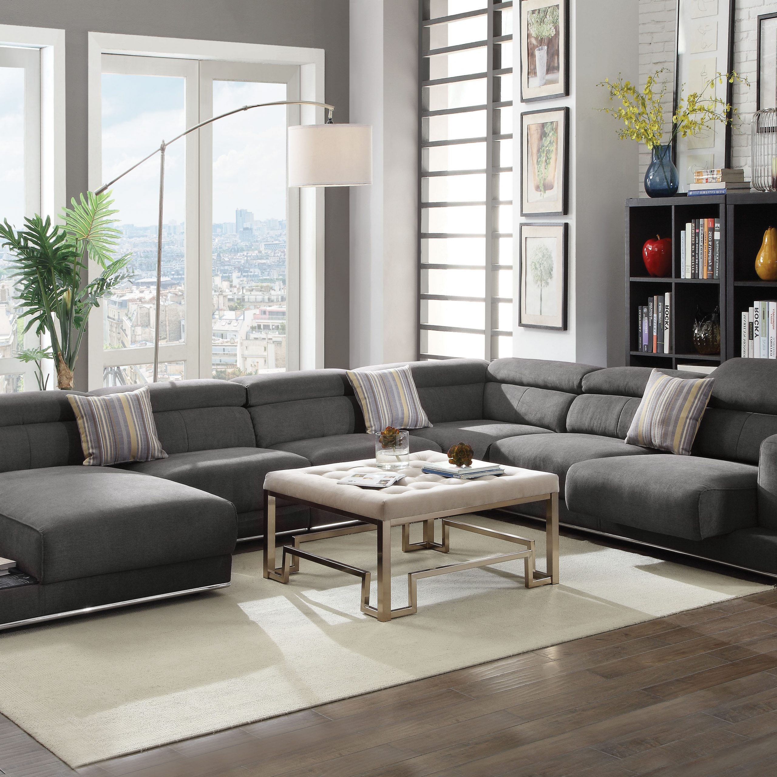 Polyfiber Linen Fabric Sectional Sofas Dark Gray With 2018 Acme Alwin Sectional Sofa In Dark Gray Fabric Upholstery (View 12 of 25)
