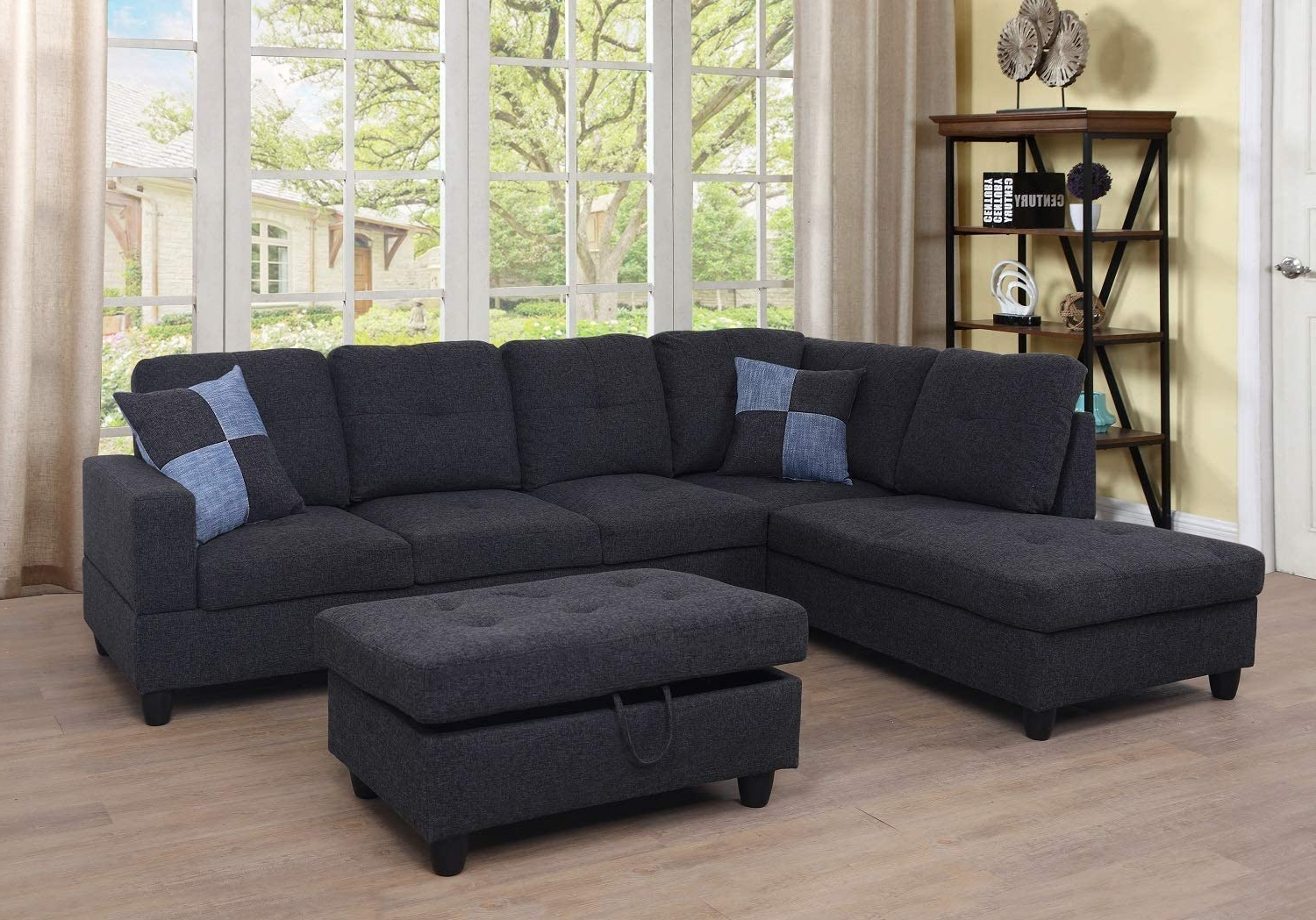 Ponliving Furniture 3-Pcpiece Sectional Sofa Couch Set, L regarding Trendy Hannah Right Sectional Sofas