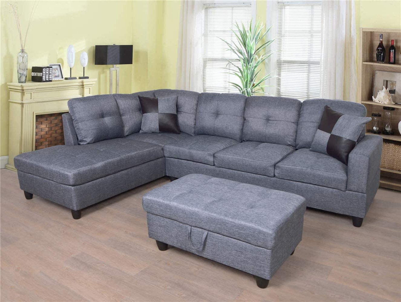 Ponliving Furniture 3 Pcpiece Sectional Sofa Couch Set, L With Newest Owego L Shaped Sectional Sofas (View 1 of 25)