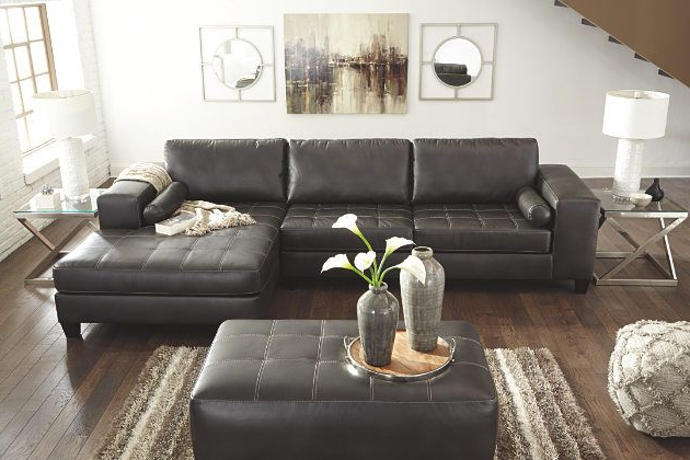 Popular 2Pc Maddox Right Arm Facing Sectional Sofas With Chaise Brown Inside Charcoal Nokomis 2 Piece Sectional View  (View 7 of 25)