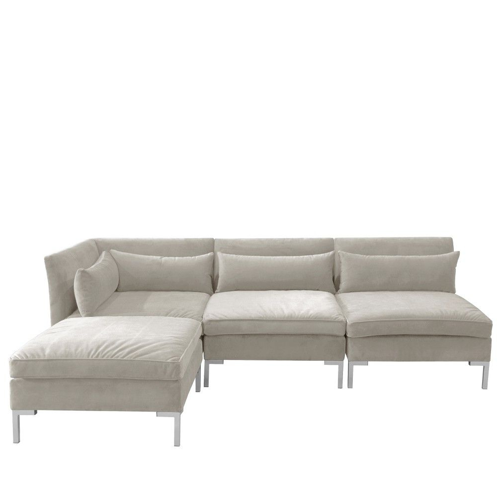 Popular 4Pc Alexis Sectional With Silver Metal Y Legs Light Gray With 4Pc Alexis Sectional Sofas With Silver Metal Y Legs (View 4 of 25)