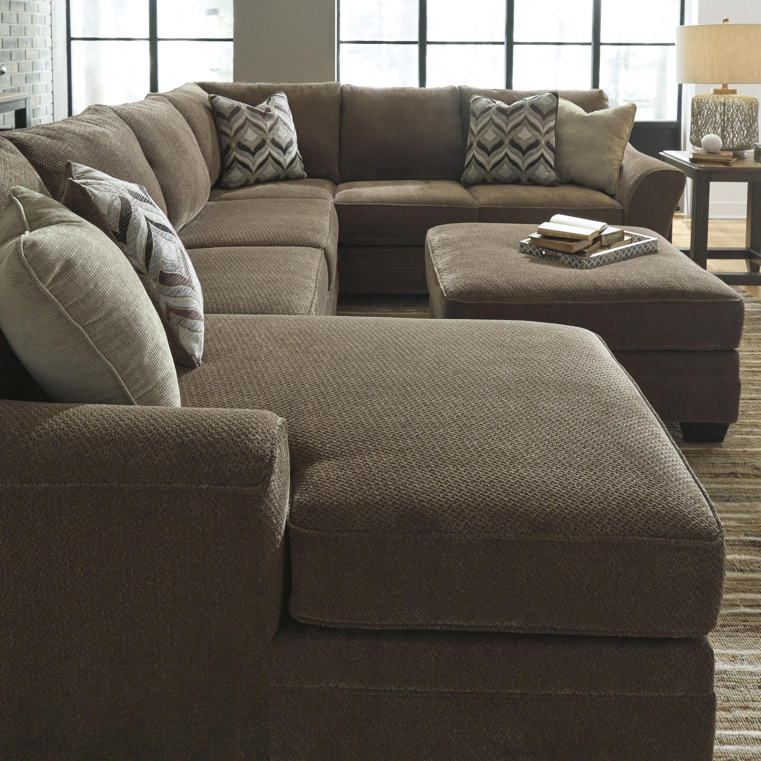 Popular Benchcraft Justyna Contemporary 3 Piece Sectional With Inside 3Pc Polyfiber Sectional Sofas (View 20 of 25)