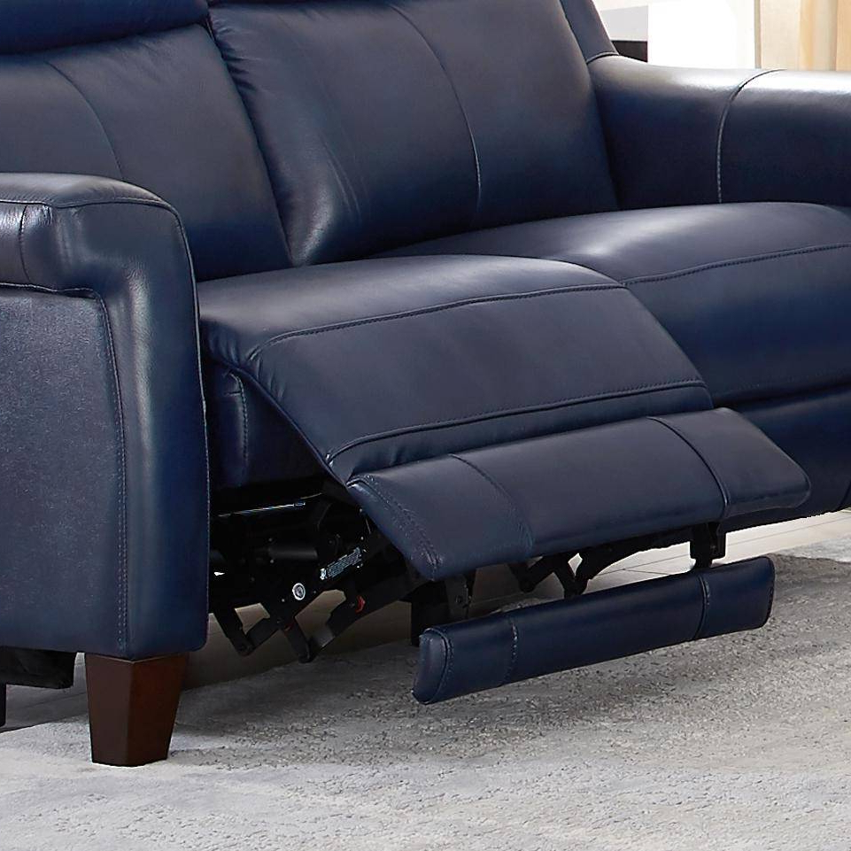 Popular Chatham Blue Genuine Leather Power Reclining Sofa Loveseat In Power Reclining Sofas (View 5 of 15)