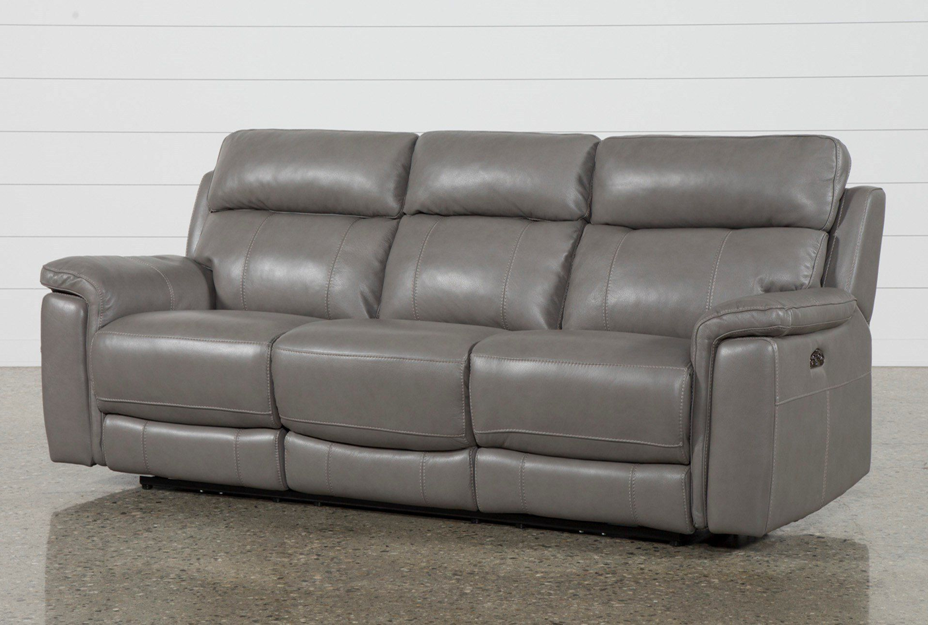 """Popular Dino Grey Leather 91"""" Power Reclining Sofa With Power With Pacifica Gray Power Reclining Sofas (View 7 of 15)"""
