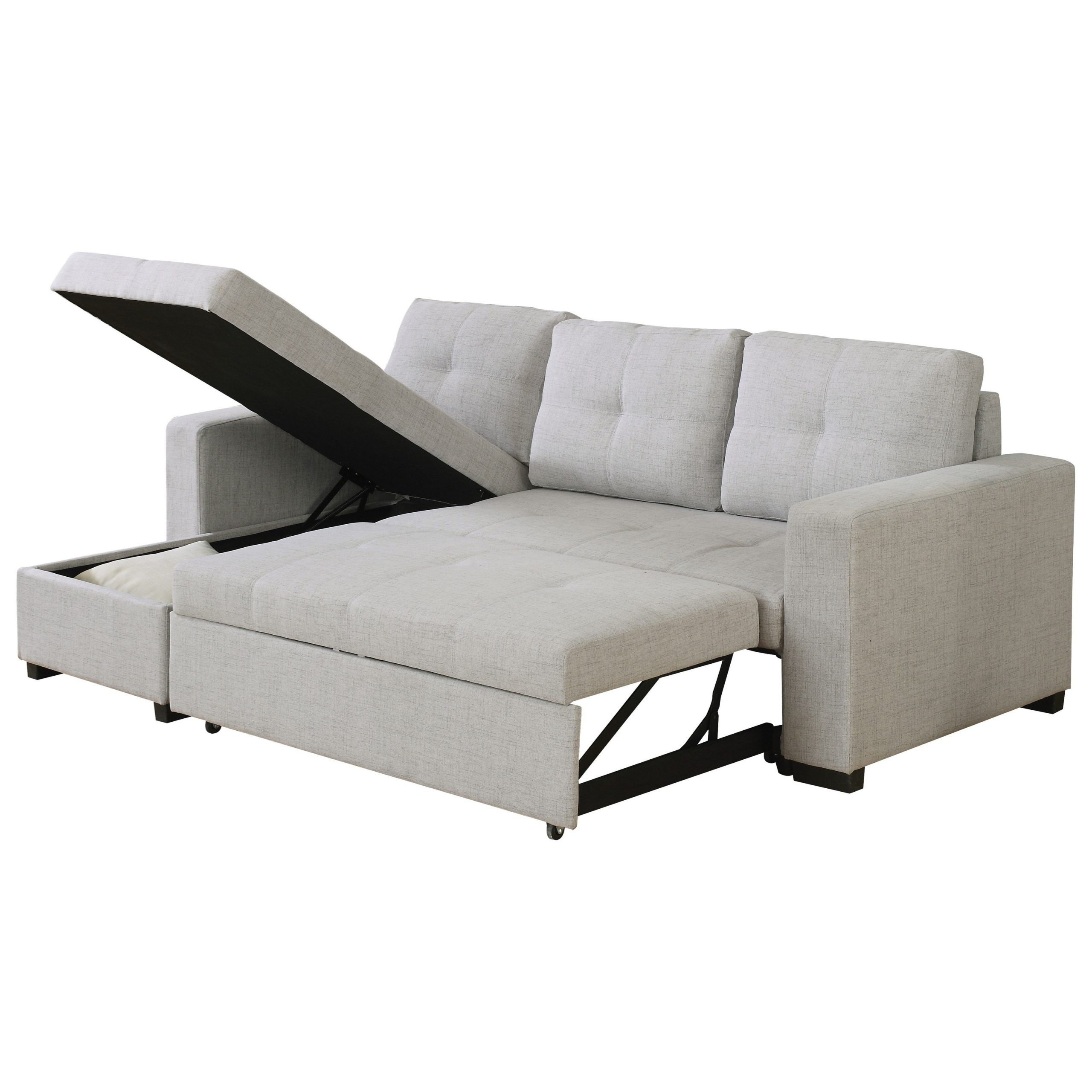 Popular Everly Beige Reversible Sectional Sofa With Sleeper Throughout Copenhagen Reversible Small Space Sectional Sofas With Storage (View 13 of 25)
