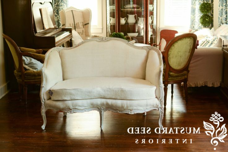 Popular French Seamed Sectional Sofas Oblong Mustard Regarding Happy Ending & French Settee Makeover (View 1 of 25)