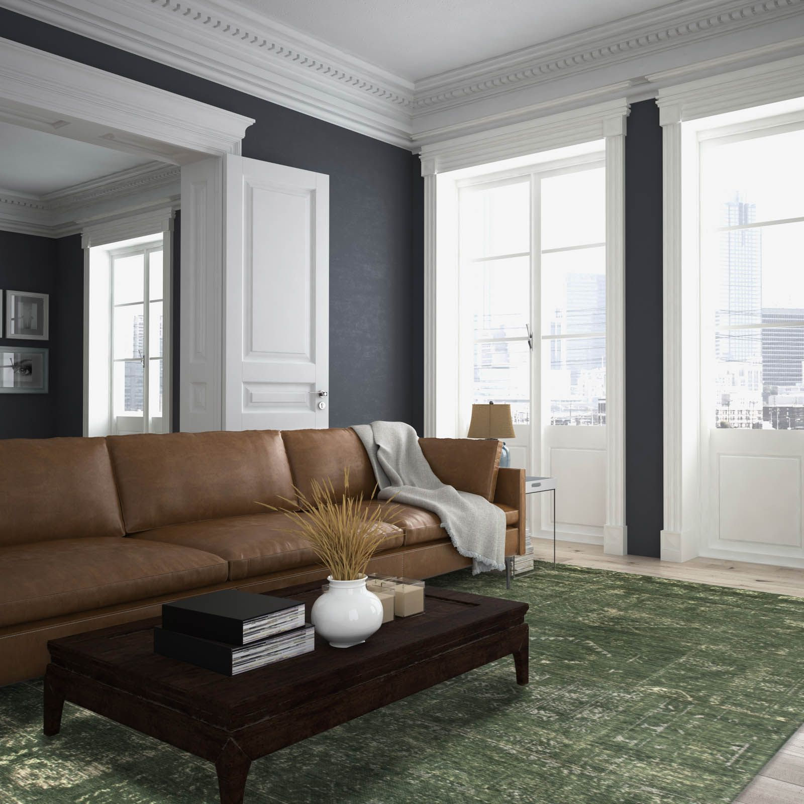 Popular Louis De Poortere Fading World Rugs 8271 Perrier Green For Cromwell Modular Sectional Sofas (View 15 of 25)