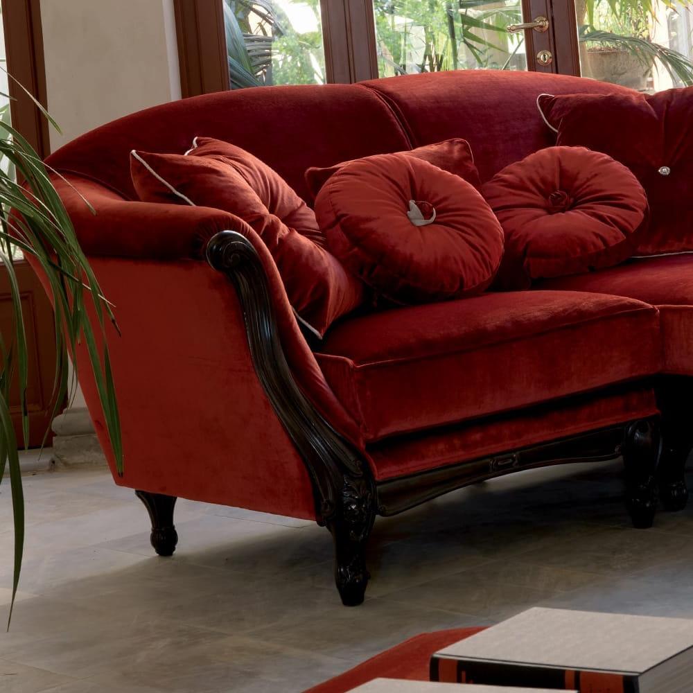 Popular Luxury Red Velvet Italian Designer Sectional Sofa With Regard To Strummer Velvet Sectional Sofas (View 17 of 25)