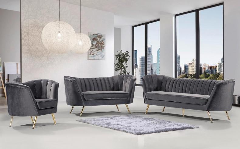 Popular Meridian Margo Velvet Sofa In Grey 622Grey S – 1Stopbedrooms (View 24 of 25)