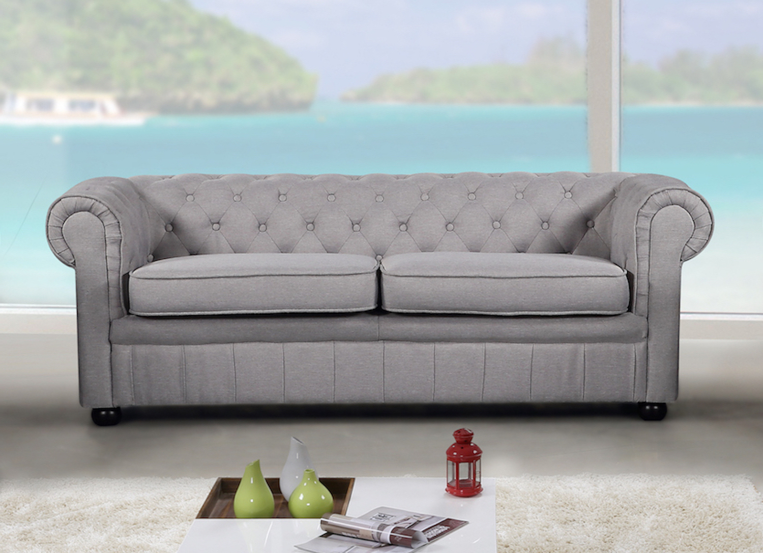 Popular Modern Chesterfield Style Sofa – Light Grey Fabric Intended For Ludovic Contemporary Sofas Light Gray (View 11 of 25)