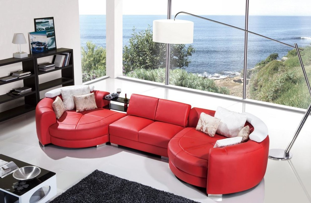 Popular Modern Red Leather Sectional Sofa With Chaise – Modern Regarding 4Pc Crowningshield Contemporary Chaise Sectional Sofas (View 6 of 25)
