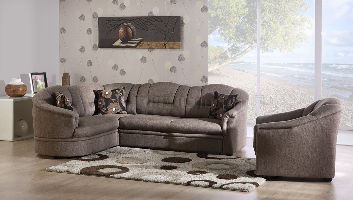 Popular Prato Storage Sectional Futon Sofas Inside Two Tone Brown Fabric Convertible Sectional Sofa Bed W/Storage (View 12 of 25)